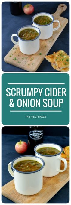Scrumpy Cider & Onion Soup with Welsh Rarebit Croutons - veganise croutons with Vegg