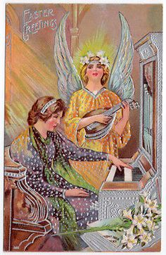 Easter-Postcard-Angel-Playing-an-Oud-While-Woman-Plays-the-Organ-107112
