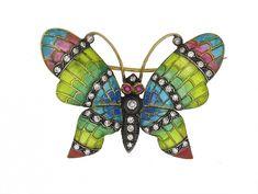 Diamond Plique A Jour Butterfly Brooch in 18K #505139
