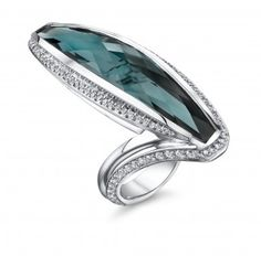Blue green tourmaline and diamond ring by Mark Schneider Design. #Rings #Jewelry #Diamondrings | For more beautiful rings see:         http://www.engagement-rings-specialists.com/Diamond-Engagement-Rings.html