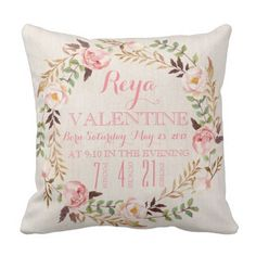 Rustic Floral Bohemian Delivery Stats Pillow.  Find out more by clicking the photo link