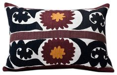 Embroidered Samarkand Tribal Band Suzani Lumbar Pillow Circa 1940's - contemporary - Decorative Pillows - Metrohouse Designs