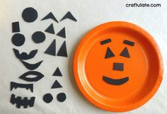Halloween for Kids : Halloween Craft for toddlers making a jack o lantern out of orange paper plates and stickers                                                                                                                                                                                 More