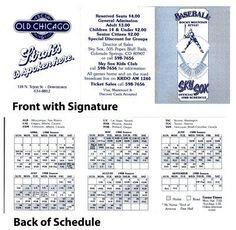 """Vintage Official 1988 3.5x8 Colorado Springs Sky Sox Minor League Schedule . $6.00. Vintage 1988 3.5x8"""" (appx) Colorado Springs Minor League Team Sky Sox Schedule.GREAT AUTHENTIC COLORADO SPRINGS SKY SOX VINTAGE BASEBALL COLLECTIBLE!!"""