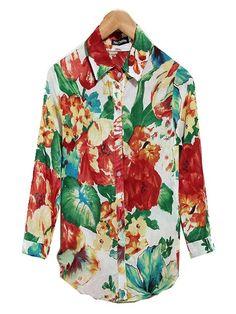 Zanzea®Multicolor Floral Mid Sleeve Lapel Collar Blouse