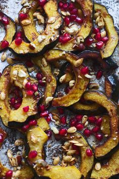 BROWN BUTTER-ROASTED ACORN SQUASH WITH TOASTED HAZELNUTS, POMEGRANATES AND SQUASH When squash is dressed with butter, brown sugar, cinnamon, and chopped hazelnuts, we guarantee the kids will never complain about eating their veggies.