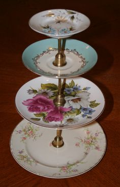 DIY Dessert stand from thrift store plates and candlesticks