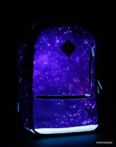 Glow in the dark Galaxy backpack. Oh, my stars, yes!