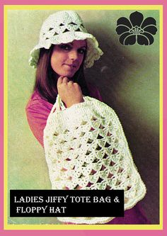 Items similar to PDF Vintage Ladies Womens Crochet Pattern Summer Beach String Bag Cloche Hat Lacy Oversized MOD Shell Boho Jiffy Tote Shopper Floppy on Etsy Hat Patterns, Knitting Patterns, Crochet Patterns, Hippie Chick, String Bag, Green Goddess, Yarn Bombing, Cloche Hat, Vintage Crafts