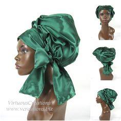 Need in XL  Satin Sleep Cap - Satin Bonnet (Emerald Green) Sleep Cap - Satin Sleep Bonnet