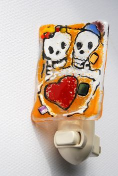 Day of the Dead glass night light Skeleton Wedding by CarlaLovato, $24.00