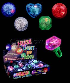 Share CoolGlow with you Friends and Receive 5% on your order.  LED Jumbo Gem Rings - Assorted - Coolglow.com #http://pinterest.com/coolglow/