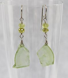 Prehnite Slice Nugget Dangle Earrings, Raw Natural Gemstone, Sterling Silver Wire Wrap, Handmade Gemstone Bead Jewelry, Lime Green Mineral by AdornmentsAndFrills on Etsy