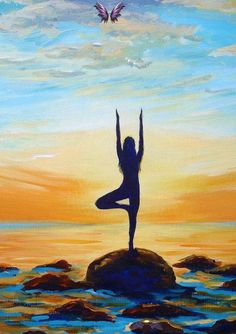 Items similar to GICLEE Fine Art Reproduction on 8.5x11 PAPER - Yoga Sol (Lululemon mural) by Daina Scarola (sunset, seascape, tree pose, zen) on Etsy GICLEE Fine Art Reproduction on 8.5x11 PAPER - Yoga Sol (Lululemon mural) by Daina Scarola (sunset, seascape, tree pose, zen)<br> Yoga Painting, Painting & Drawing, Watercolour Painting, Art Pictures, Art Images, Cherry Blossom Art, Painting Competition, Yoga Art, Art Reproductions