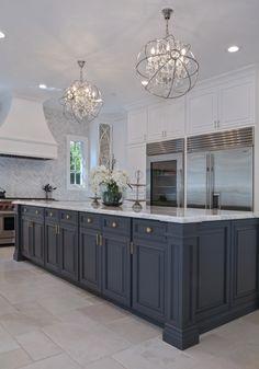 Luxury Kitchen Design, Luxury Kitchens, Home Kitchens, Small Kitchens, Home Decor Kitchen, Kitchen Interior, New Kitchen, Kitchen Ideas, Kitchen Grey