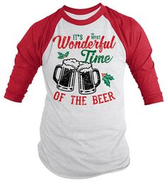 471d3c02 Shirts By Sarah Funny Christmas Beer T-Shirt Wonderful Time 3/4 Sleeve  Raglan Tee