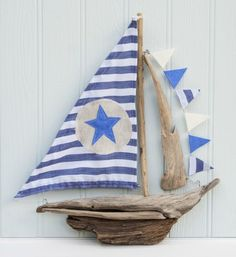 Handmade Driftwood Sail Boat