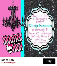 Monster High Personalized Birthday Invitation-2 Sided
