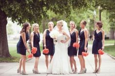 #navy & coral #wedding bridesmaid dresses... Wedding ideas for brides, grooms, parents & planners ... https://itunes.apple.com/us/app/the-gold-wedding-planner/id498112599?ls=1=8 … plus how to organise an entire wedding, without overspending ♥ The Gold Wedding Planner iPhone App ♥