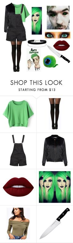 """AntiSepticeye Gender Swapped Halloween Costu- CosPlay"" by sparkle-septiceye ❤ liked on Polyvore featuring Boohoo, Glamorous, Lime Crime, Miss Selfridge and J.A. Henckels"