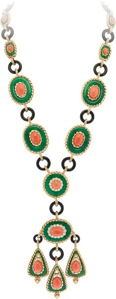 Van Cleef & Arpels. Necklace. Yellow gold, platinum, round diamonds, onyx, green chalcedony, coral. Heritage Collection. 1972. Price on request. Courtesy Van Cleef & Arpels