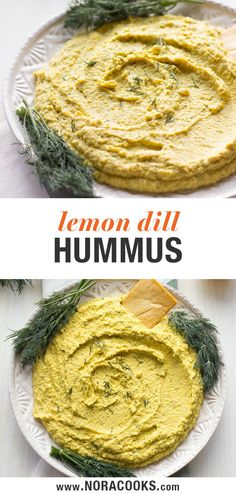 Lemon Dill Hummus - A new twist on hummus! Lemon Dill Hummus, perfectly fresh and beautiful for Spring and Summer. Healthy Vegan Snacks, Vegan Appetizers, Appetizer Recipes, Vegan Food, Dinner Recipes, Pesto, Dill Recipes, Vegan Recipes, Potato Recipes