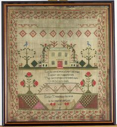 Needlework sampler wrought by Esther Tyson, dated 1828.  This would be fun to stitch - a sweet sampler.