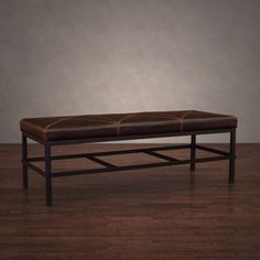 Antique Steel Vintage Tobacco Leather Bench - Overstock Shopping - Great Deals on 555 Benches