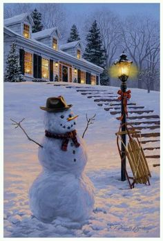 Winters Welcome — Darrell Bush Art is part of Christmas snowman - Painting by internationally collected artist, Darrell Bush Christmas Scenes, Christmas Snowman, Winter Christmas, Vintage Christmas, Christmas Posters, Xmas Holidays, Christmas Lights, Christmas Decor, Christmas Holidays