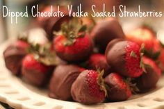 Dipped Chocolate Vodka Soaked Strawberries