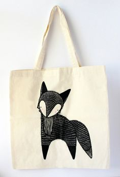 ON SALE Blushing Fox Tote Bag by Gingiber by Gingiber on Etsy, $15.00
