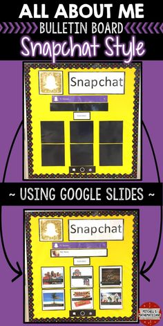 Check out this fun way to create a bulletin board using social media. This digital, All About Me Snapchat bulletin board, is editable for your students through Google slides. There are 10 different post options for your students to choose from. They will edit the slides and then print off the pages for you to display on your bulletin board.