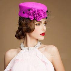 e4f0da475e9ca  US  32.99  Ladies  Vintage Autumn Winter Wool With Tulle Fascinators Bowler Cloche  Hat