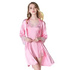 08d84cfa19 Long Sleeve Lace Satin Silk Women s Robe Set With Mini Nightdress Free  Shipping Sexy Ladies Nightwear