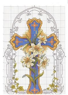 There is no color chart for this. Cross Stitch Love, Cross Stitch Pictures, Cross Stitch Kits, Counted Cross Stitch Patterns, Cross Stitch Charts, Cross Stitch Designs, Cross Stitch Embroidery, Religion, Cross Art