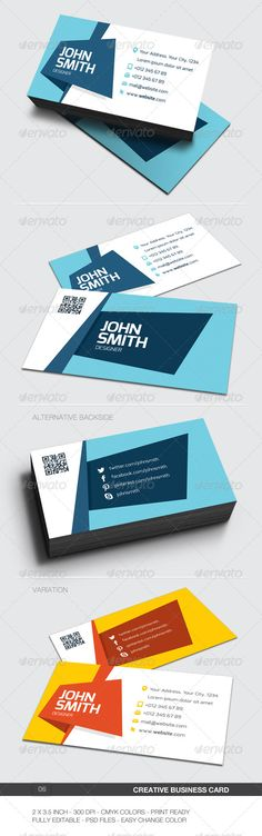 Buy Creative Business Card - 06 by loracreative on GraphicRiver. Business card for any idustry. x with bleed) 300 DPI CMYK Print Ready!