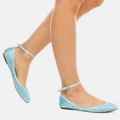 Pretty blue ankle strap flats.