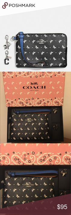 "NWT Coach butterfly & charms wristlet!! NWT Coach beautiful butterfly & charms wristlet!! Super cute and perfect for Summer!! Includes beautiful gift box and two charms!!  Measures 6.5"" in length & 4"" in height Coach Bags"