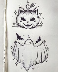 halloween tattoos Credit to Sailormisaki Body Art Tattoos, Tattoo Drawings, Cute Drawings, Drawing Sketches, Sleeve Tattoos, Drawing Ideas, Desenhos Halloween, Halloween Doodle, Cute Halloween Drawings