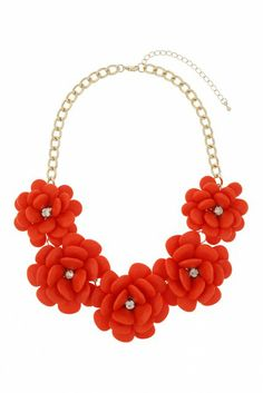 Statement Necklaces via GPS Radar  Freedom at Topshop Spring Summer 2014 Women's Jewelry Large Orange Flower Necklace