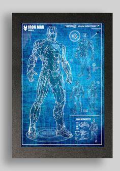 Iron Man Mark 6 Suit Blueprints 16x24 by RyanHuddle on Etsy