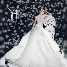 Beauty Personified  #VictorHarper Style VHC293 Strapless A line satin ballgown. Embroidered beaded bodice. Assymmetric hip line with side draped skirt. #victorharpercouture  #bridetobe #bride #bridal #weddinggown #wedding
