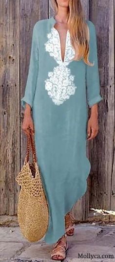Buy 2 Got OFF Code: mollyca Fashion Women Vintage Dress Shift Half Long Sleeve Slit Dress Spring Fashion Casual, Boho Fashion, Fashion Outfits, Womens Fashion, Fashion Design, Fashion Boots, Vestidos Vintage, Vintage Dresses, Look Hippie Chic