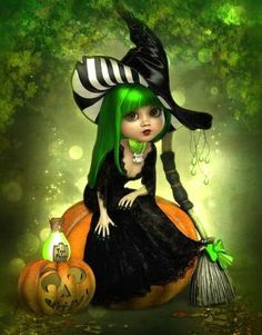 Image may contain: 1 person Retro Halloween, Holidays Halloween, Halloween Crafts, Happy Halloween, Halloween Decorations, Halloween Witches, Kobold, Fantasias Halloween, Witch Art