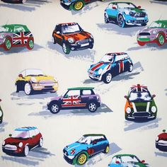 Moto - Metro mini cars on cream background Kids Fabric for Kids Curtains Bedding and Kids Curtain Kits UK