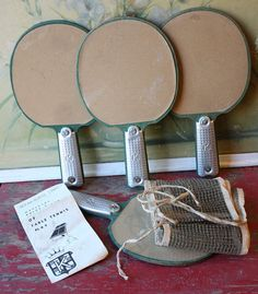 1950's Table Tennis Ping Pong Set Four Wood Paddles And Net