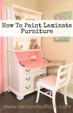 How to Paint Laminate Furniture - www.renovatedfaith.com #laminate #paint #furniture #antiquefurniture