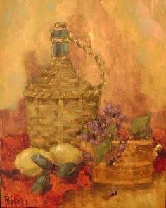 """one of my paintings on copper. """"Italian Bottle"""""""
