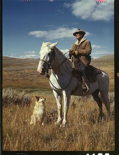 Shepherd with his horse and dog on Gravelly Range Madison County, Montana, August 1942. Photo by Russell Lee.