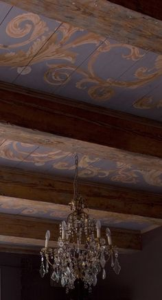 PAINTED CEILING on antique floorboards in an c. Ceiling Murals, Floor Ceiling, Ceiling Painting, Painted Ceiling Beams, Snails In Garden, Dream Wall, Vintage Interiors, Inspiration Wall, Ceiling Design